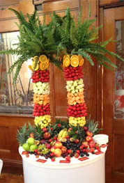 Twin Fruit Palm Trees by Delicious Fruits and Fountains at Asian Wedding