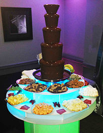 5 Tier Chocolate Fountain at Delicious Fruits & Fountains Client Event Manchester with illuminated stand and dippers