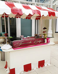 French Crepes Stand by Delicious Fruits & Fountains