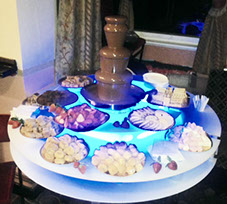 Medium Chocolate Fountain for hire from Delicious Fruits & Fountain with illuminated stand and dippers