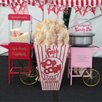 Popcorn and Candy Floss Carts for Hire with giant Popcorn box